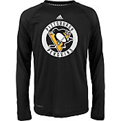 adidas Youth Pittsburgh Penguins Practice Black Performance Long Sleeve Shirt