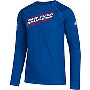 adidas Youth New York Rangers Line Shift Royal Long Sleeve Shirt