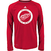 adidas Youth Detroit Red Wings Practice Red Performance Long Sleeve Shirt