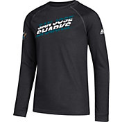 adidas Youth San Jose Sharks Line Shift Black Long Sleeve Shirt