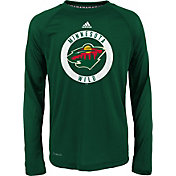 adidas Youth Minnesota Wild Practice Green Performance Long Sleeve Shirt