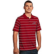 Antigua Men's Atlanta Braves Deluxe Red Striped Performance Polo