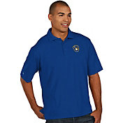 Antigua Men's Milwaukee Brewers Royal Pique Performance Polo