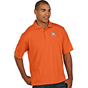 Antigua Men's Miami Marlins Orange Pique Performance Polo