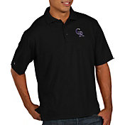 Antigua Men's Colorado Rockies Black Pique Performance Polo