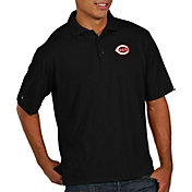 Antigua Men's Cincinnati Reds Black Pique Performance Polo