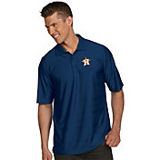 Antigua Men's Houston Astros Illusion Navy Striped Performance Polo