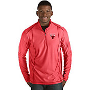 Antigua Men's Chicago Bulls Tempo Red Quarter-Zip Pullover