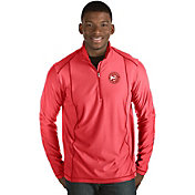 Antigua Men's Atlanta Hawks Tempo Red Quarter-Zip Pullover