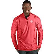 Antigua Men's Houston Rockets Tempo Red Quarter-Zip Pullover
