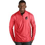 Antigua Men's Portland Trail Blazers Tempo Red Quarter-Zip Pullover