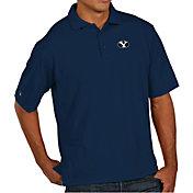 Antigua Men's BYU Cougars Blue Pique Xtra-Lite Polo