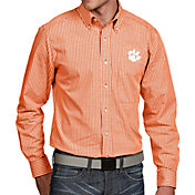 Antigua Men's Clemson Tigers Orange Associate Button Down Long Sleeve Shirt