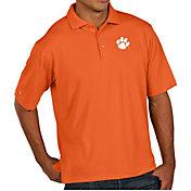 Antigua Men's Clemson Tigers Orange Pique Xtra-Lite Polo