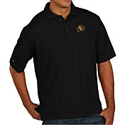 Antigua Men's Colorado Buffaloes Black Pique Xtra-Lite Polo