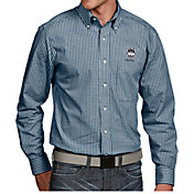 Antigua Men's UConn Huskies Blue Associate Button Down Long Sleeve Shirt