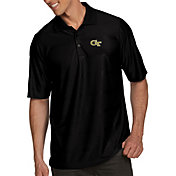 Antigua Men's Georgia Tech Yellow Jackets Black Illusion Polo
