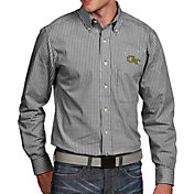 Antigua Men's Georgia Tech Yellow Jackets Black Associate Button Down Long Sleeve Shirt