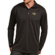 Antigua Men's Georgia Tech Yellow Jackets Black Exceed Long Sleeve Polo