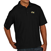 Antigua Men's Georgia Tech Yellow Jackets Black Pique Xtra-Lite Polo