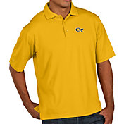 Antigua Men's Georgia Tech Yellow Jackets Gold Pique Xtra-Lite Polo