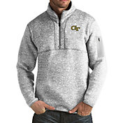 Antigua Men's Georgia Tech Yellow Jackets Grey Fortune Pullover Jacket