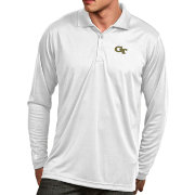 Antigua Men's Georgia Tech Yellow Jackets White Exceed Long Sleeve Polo