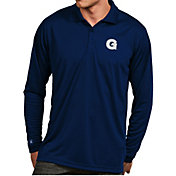 Antigua Men's Georgetown Hoyas Blue Exceed Long Sleeve Polo