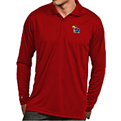 Antigua Men's Kansas Jayhawks Crimson Exceed Long Sleeve Polo