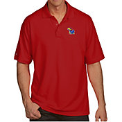Antigua Men's Kansas Jayhawks Crimson Pique Xtra-Lite Polo