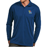 Antigua Men's Kansas Jayhawks Blue Exceed Long Sleeve Polo
