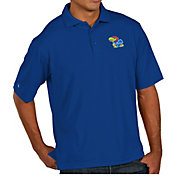 Antigua Men's Kansas Jayhawks Blue Pique Xtra-Lite Polo