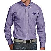 Antigua Men's Kansas State Wildcats Purple Associate Button Down Long Sleeve Shirt