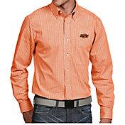 Antigua Men's Oklahoma State Cowboys Orange Associate Button Down Long Sleeve Shirt