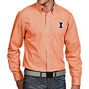 Antigua Men's Illinois Fighting Illini Orange Associate Button Down Long Sleeve Shirt