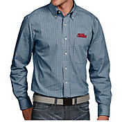 Antigua Men's Ole Miss Rebels Blue Associate Button Down Long Sleeve Shirt
