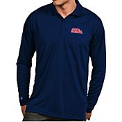 Antigua Men's Ole Miss Rebels Blue Exceed Long Sleeve Polo