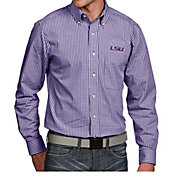 Antigua Men's LSU Tigers Purple Associate Button Down Long Sleeve Shirt