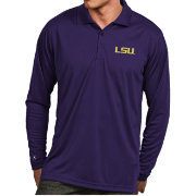 Antigua Men's LSU Tigers Purple Exceed Long Sleeve Polo