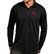 Antigua Men's Louisville Cardinals Black Exceed Long Sleeve Polo