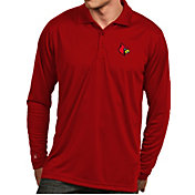 Antigua Men's Louisville Cardinals Cardinal Red Exceed Long Sleeve Polo