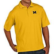 Antigua Men's Michigan Wolverines Maize Pique Xtra-Lite Polo