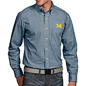 Antigua Men's Michigan Wolverines Blue Associate Button Down Long Sleeve Shirt
