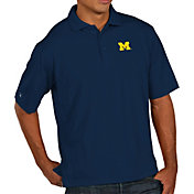 Antigua Men's Michigan Wolverines Blue Pique Xtra-Lite Polo