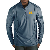 Antigua Men's Michigan Wolverines Blue Tempo Half-Zip Pullover