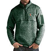 Antigua Men's Miami Hurricanes Green Fortune Pullover Jacket