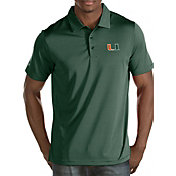 Antigua Men's Miami Hurricanes Green Quest Polo