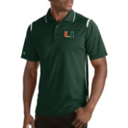 Antigua Men's Miami Hurricanes Merit Xtra-Lite White Polo
