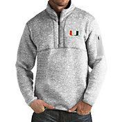 Antigua Men's Miami Hurricanes Grey Fortune Pullover Jacket
