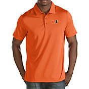 Antigua Men's Miami Hurricanes Orange Quest Polo